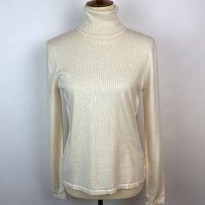Ralph Lauren Cream Merino Wool Blend Turtleneck M